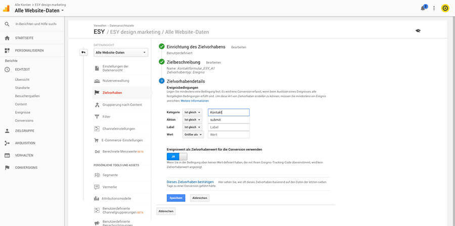 Conversion Tracking in google Analytics einrichten