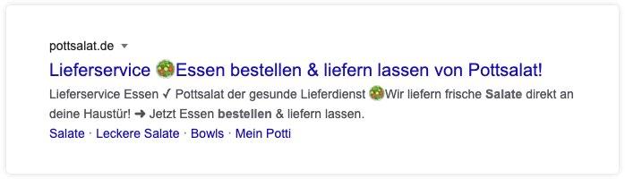 Suchergebnis Google mit Emojis für Pottsalat